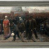 Herman Heijenbrock, Ploegwisseling voor de poort van de mijn, (ca 1900). Collectie Continium