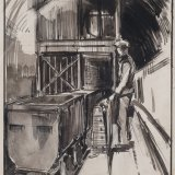 Jos. Postmes, Ondergrondse laadplaats met automatische bediening Oranje-Nassau Mijnen. Inkt en aquarel (1933)