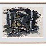 Gouache van een mijnwerker met afbouwhamer in een pijler