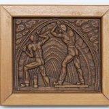 Houtsnijwerk voorstellende: twee mijnwerkers bij aanleg galerij