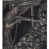 Houtskooltekening 'Mijnwerker met afbouwhamer'