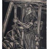 Houtskooltekening 'mijnwerker met hak en stijl'