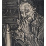 Houtskooltekening 'boeterende mijnwerker'