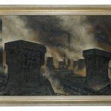 Olieverfschilderij met schachten van staatsmijn Maurits, omgeven door rook, Toon Koster