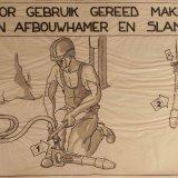 Instructietekening 'Voor gebruik gereed maken van afbouwhamer en slang'