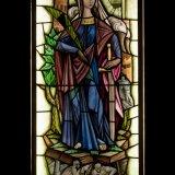 Glas-in-loodraam Sint-Barbara, patrones van de mijnwerkers, Henri Pieters