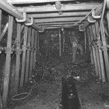 Bouwwerk in pijler ondergronds op de Staatsmijn Wilhelmina