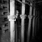 Stijlen in pijler ondergronds op de Staatsmijn Wilhelmina