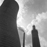 Bouw van een nieuwe schoorsteen op de Oranje Nassau Mijn 1 in Heerlen