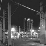 Nachtopname van de Benzolfabriek op de Cokesfabriek Emma