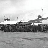 Duitse kolenhandelaren geland op vliegveld Beek voor een bezoek aan de Staatsmijn Wilhelmina