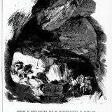 Reproductie van een tekening van een steenkoolmijn - galerij te Kerkrade in 1879