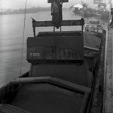 Het verladen van Korlin korrels in een schip in de haven van Stein