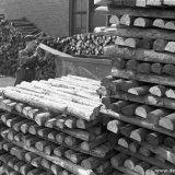 N. Schrijen op het houtterrein van de Staatsmijn Hendrik
