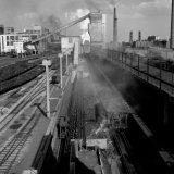 Batterij-complex De van de Cokesfabriek Maurits met nieuwe blushelling en transportband voor de grove cokes