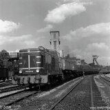 600 PK diesel rangeer locomotief van het Spoorweg- en Expediebedrijf op het emplacement van de Staatsmijn Emma