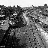 Diesel locomotief en bakkenwagens van het Spoorweg- en Expeditiebedrijf