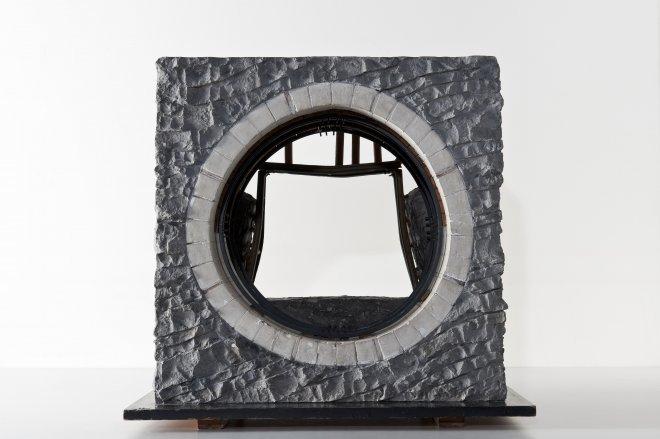 Schaalmodel van een betonblokkenkoker