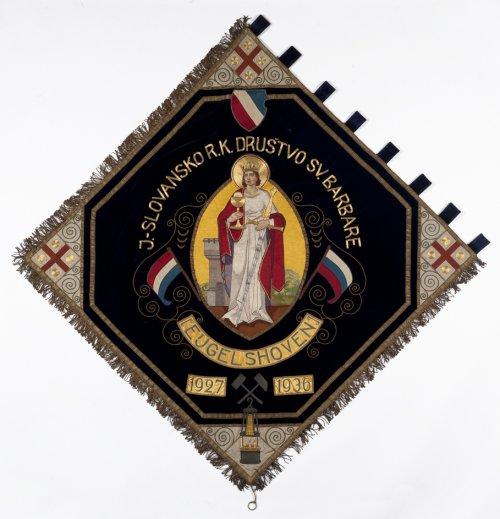 Barbara op het vaandel van een Joegoslavische vereniging in de mijnstreek