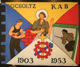 Vlag en vlaggenstok van de Katholieke Arbeidersbeweging, afdeling Bocholtz (1953)