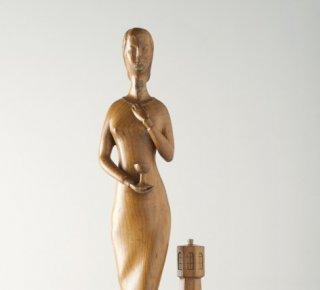 Beeld van de heilige Barbara (1959) door Piet Derks